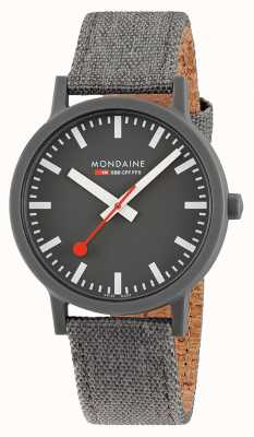 Mondaine Essence 41mm | Dark Grey Textile Strap | Grey Dial MS1.41180.LH