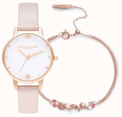 Olivia Burton Under The Sea | Watch And Bracelet Gift Set | Pink OBGSET141