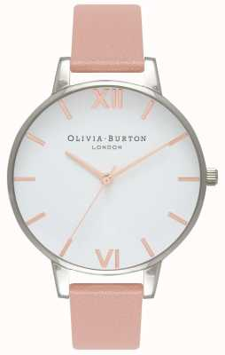 Olivia Burton Women's Big Dial | Dusty Pink Leather Strap | White Dial OB16BDW26