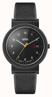 Braun Men's Classic Black Leather Strap Black Dial Black Detail AW10EVOB