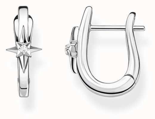 Thomas Sabo Sterling Silver Star Hoop Earrings CR654-643-21