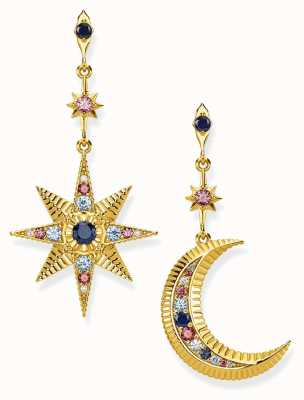 Thomas Sabo Gold Plated Royalty Star And Moon Earrings H2025-959-7