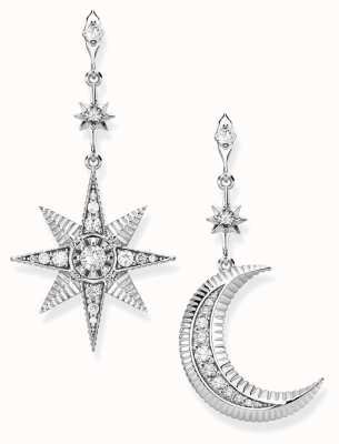 Thomas Sabo Sterling Silver Royalty Star And Moon Earrings H2026-643-14