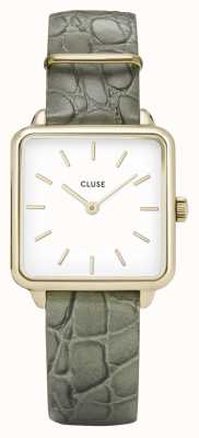 CLUSE | La Tétragone | Green Alligator Embossed Strap | White Dial | CW0101207016