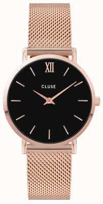 CLUSE Minuit | Rose Gold Steel Mesh Bracelet | Black Dial CW0101203003