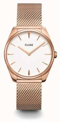 CLUSE | Féroce | Rose Gold Steel Mesh Bracelet | White Dial | CW0101212002