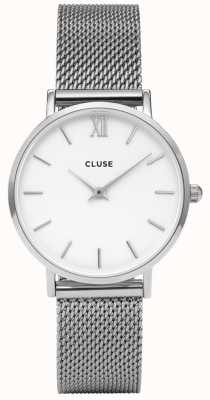 CLUSE Minuit | Silver Steel Mesh Bracelet | White Dial CW0101203002