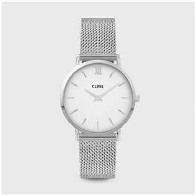 CLUSE Minuit | Silver Steel Mesh Bracelet | White Dial CW0101203002