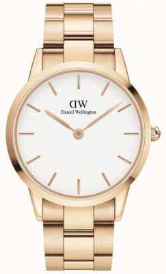 Daniel Wellington Iconic Link 40 | Rose Gold Steel Bracelet | White Dial DW00100343
