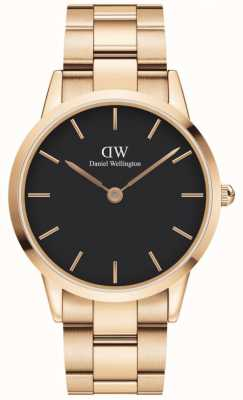 Daniel Wellington Iconic Link 40 | Rose Gold Steel Bracelet | Black Dial DW00100344