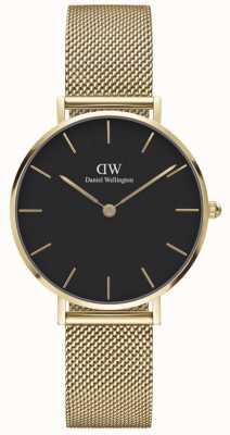 Daniel Wellington Petite 32 Evergold | Gold Steel Mesh Bracelet | Black Dial DW00100347