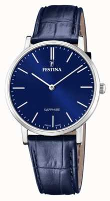 Festina Men's Swiss Made | Blue Leather Strap | Blue Dial F20012/3