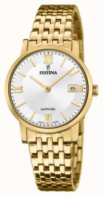 Festina Women's Swiss Made | Gold Plated Steel Bracelet | Silver Dial F20021/1