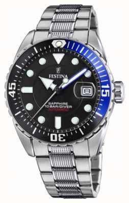Festina Men's Automatic | Stainless Steel Bracelet | Black Dial F20480/3