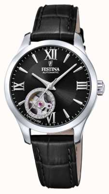 Festina Women's  Automatic | Black Leather Strap | Black Dial F20490/3