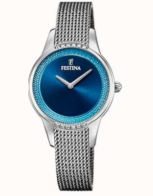 Festina Women's Ceramic | Two-Tone Steel/Ceramic Bracelet | Blue Dial F20494/2