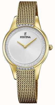 Festina Women's Gold Plated Steel Mesh Bracelet | Silver Crystal Set Dial F20495/1