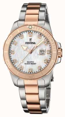 Festina Women's Two-Tone Stainless Steel Bracelet | Mother Of Pearl Dial F20505/1