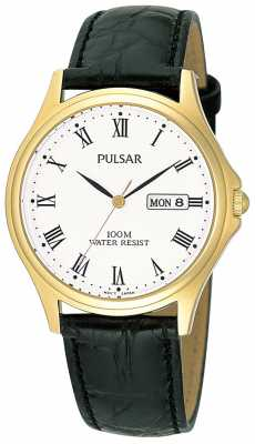 Pulsar Mens Analogue Leather Strap Watch PXF292