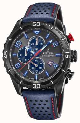 Festina Men's Chronograph | Blue Leather Strap | Grey/Blue Dial F20519/3