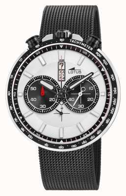 Lotus Men's Black Steel Mesh Bracelet   White/Black Dial L10139/1
