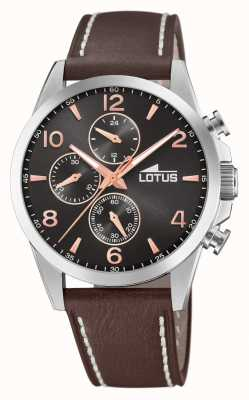 Lotus Men's Brown Leather Strap | Black Chronograph Dial L18630/3