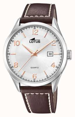 Lotus Men's Minimalist | Brown Leather Strap | Silver Dial L18634/1