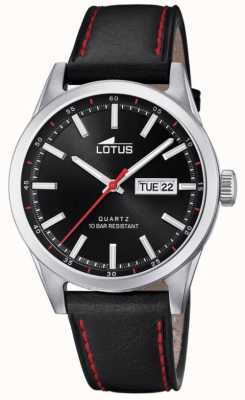 Lotus Men's Black Leather Strap | Red Stitching | Black Dial L18671/4