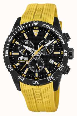 Lotus Men's Yellow Silicone Strap | Black Chronograph Dial L18672/4