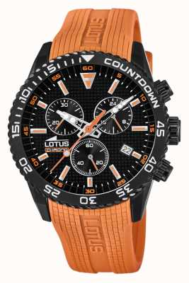 Lotus Men's Orange Silicone Strap | Black Chronograph Dial L18672/5
