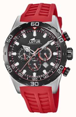 Lotus Colour | Men's Red Silicone Strap | Black Chronograph Dial L18677/6