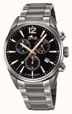Lotus Men's Stainless Steel Bracelet | Black Chronograph Dial L18682/2