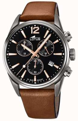 Lotus Men's Brown Leather Strap | Black Chronograph Dial L18683/2