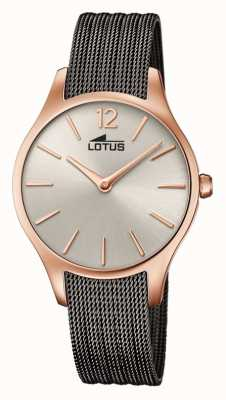 Lotus Women's Grey Mesh Bracelet | Sunray Rose Gold Dial L18751/1