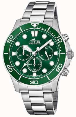 Lotus Men's Stainless Steel Bracelet | Green Chronograph Dial L18756/2