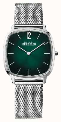 Michel Herbelin City | Men's Steel Mesh Bracelet | Green Dial 16905/16B