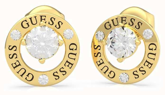 Guess All Around You | Gold Plated Crystal Set Circle Earrings UBE20135