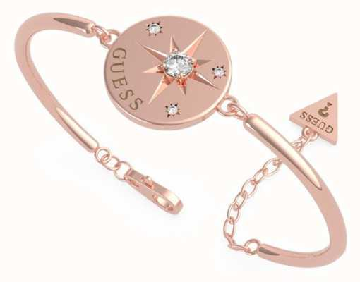 Guess Wanderlust | Rose Gold Plated Bangle | Compass Coin Crystal UBB20026-L