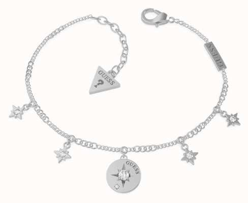 Guess Wanderlust | Stainless Steel Silver Compass & Crystal Bracelet UBB20030-L