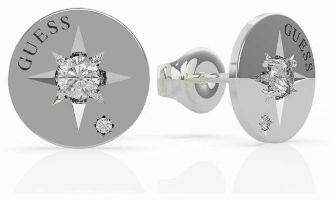 Guess Wanderlust | Stainless Steel Compass & Crystal Set Earrings UBE20017