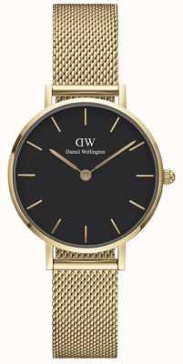 Daniel Wellington Petite 28 Evergold | Gold Mesh Bracelet | Black Dial DW00100349