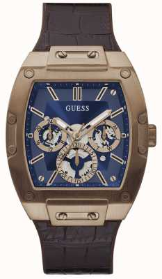Guess Phoenix | Men's Brown Leather Strap | Blue Dial GW0202G2