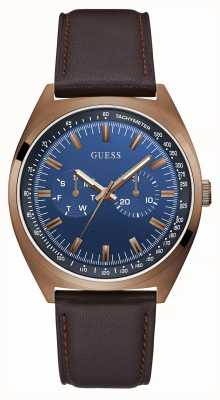 Guess Blazer | Men's Brown Leather Strap | Blue Dial GW0212G2