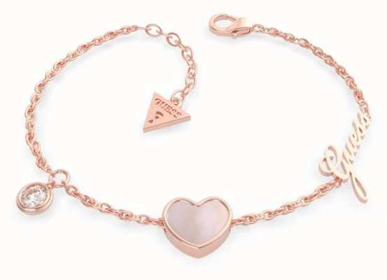 Guess Sea Gift | Rose Gold Plated Heart Pendant Bracelet UBB79023-L