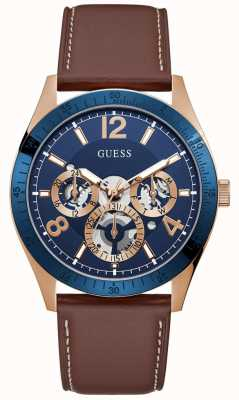 Guess Vector | Men's Brown Leather Strap | Blue Sunray Dial GW0216G1