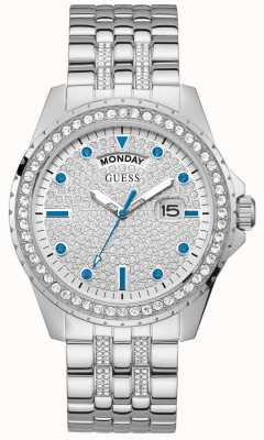 Guess Comet | Men's Stainless Steel Bracelet | Silver Dial | Crystal Set GW0218G1