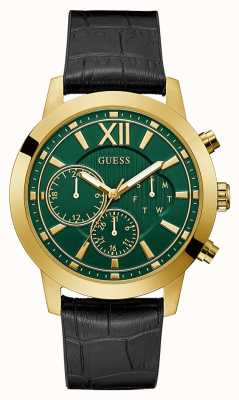 Guess Mercury | Men's Black Leather/Silicone Strap | Green Dial GW0219G2