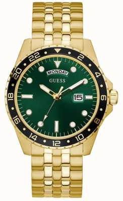 Guess Comet | Men's Gold Plated Bracelet | Green Sunray Dial GW0220G2