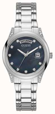 Guess Aura | Women's Stainless Steel Bracelet | Black Mother Of Pearl Dial GW0047L1