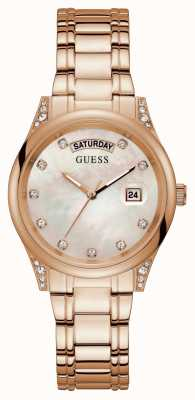 Guess Aura | Women's Rose Gold Plated Bracelet | Silver Mother Of Pearl Dial GW0047L2